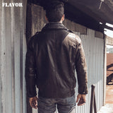 Men's Retro Pilot Real Leather Jacket Winter Coat Pigskin Aviator Jacket Bomber Jacket
