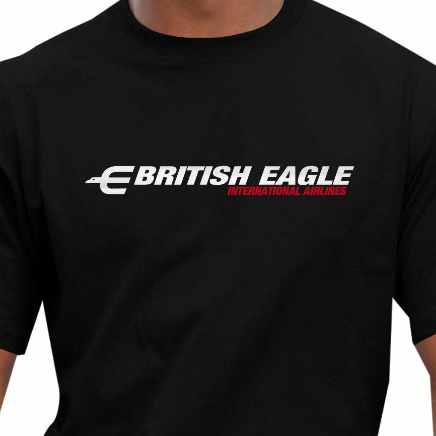 Aeroclassic Retro British Eagle Airways Design T-Shirt Summer Style
