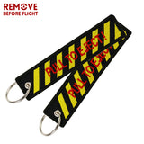 3PCS Pull To Eject Embroidered Keychain Remove Before Flight Aviation Keyrings