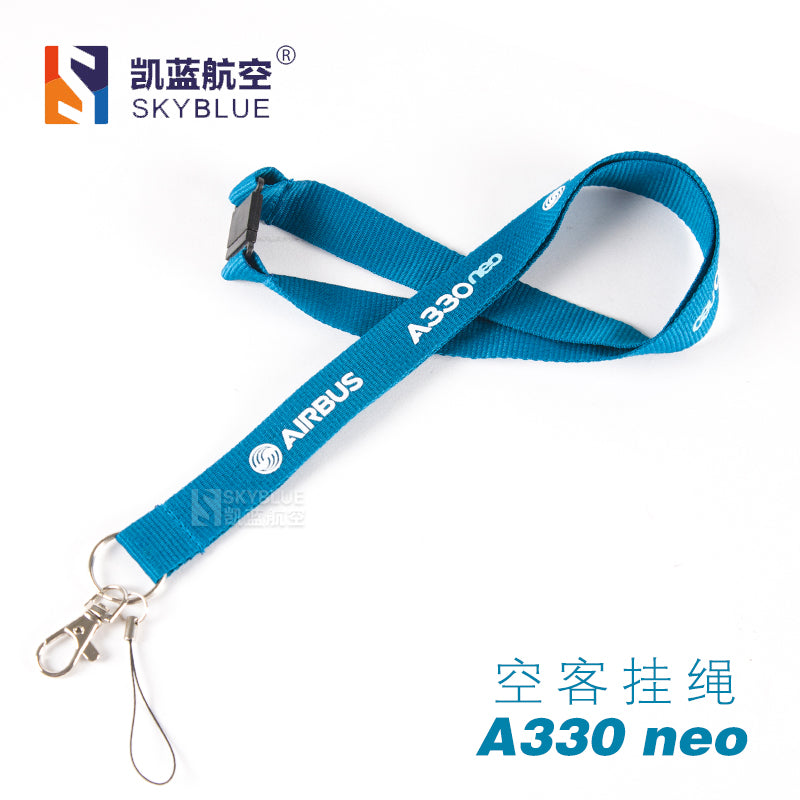 A330neo Airbus Lanyard Blue Ribbon Rope Sling for ID Case Holder for Pilot Aviation Flight Crew