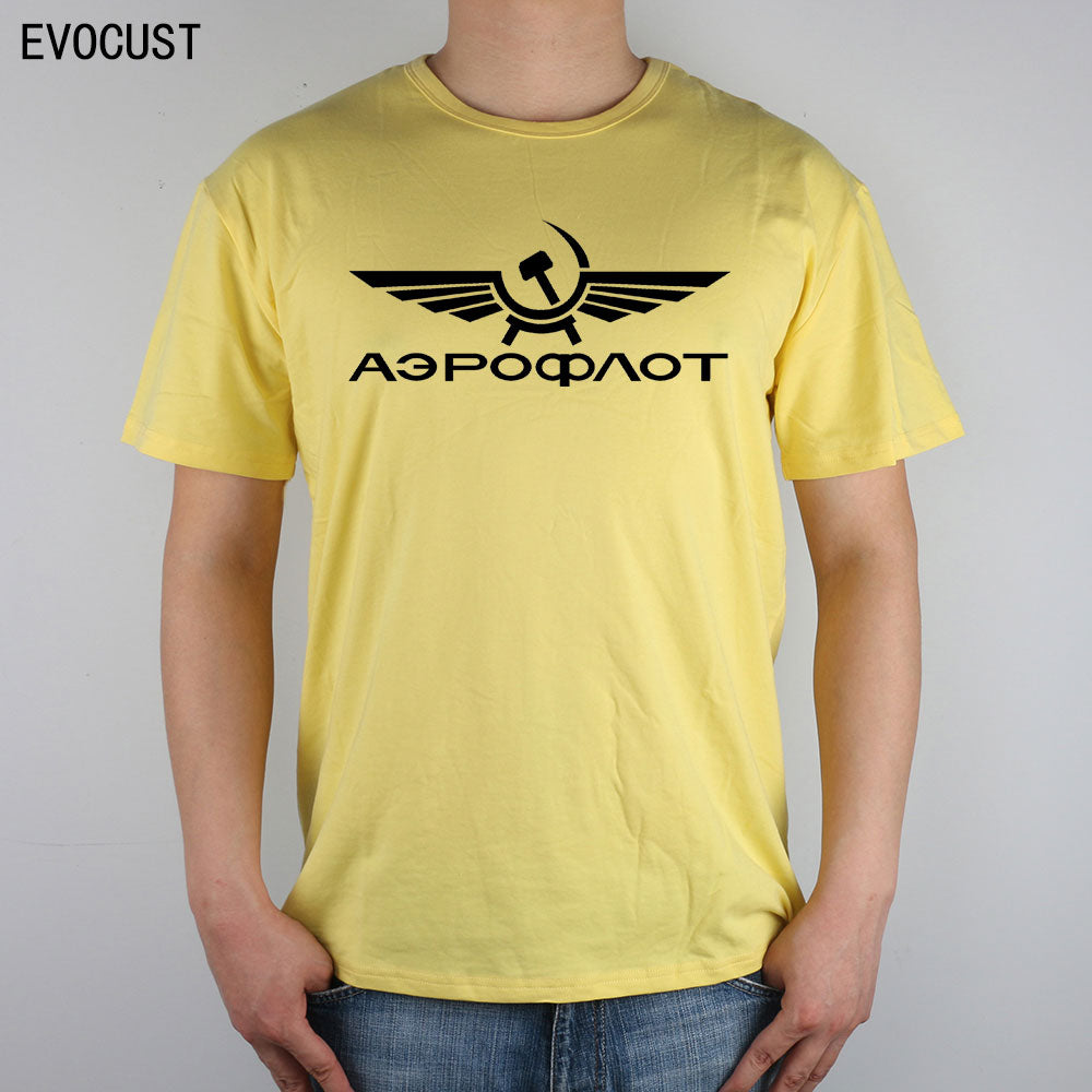 Aeroflot Airforce Russian Russia CCCP T-shirt Top Lycra Cotton Men T shirt
