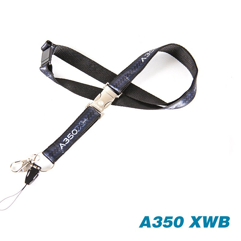 Airbus A350 Black Lanyard with Metal Buckle for Pliot Flight Crew License ID Card Holder