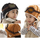 Baby earflap kid's caps with velvet Pilot hats boys flight caps for Winter children's clothing