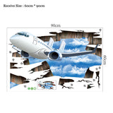 Blue sky 3D airplane Broken wall sticker Living room decoration decals home decor aircraft