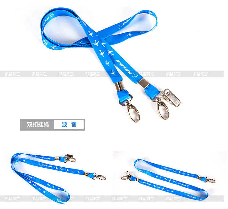 Boeing Lanyard Blue Ribbon Rope Sling Simple Design for ID Case Holder for Pilot Aviation Lover
