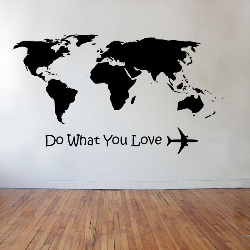 Wall stickers Do What You Love Airplane Wall Stickers World Map Home Decor Decals