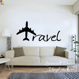 Cartoon Aircraft Travel lettering Wall Sticker Baby Nursery Kids Room Airplane Travel Wall Decal
