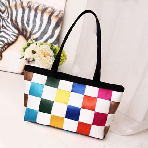 Checkerboard Woven Polyester Seat Belt Women's Fashion Tote Handbag Seatbelt Purse