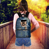 Cute Animal 3D Print Cat Women Canvas Backpack for Teenage Girls School Backpacks for Student Casual Denim Back Packs Mochila