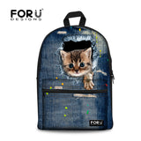 Cute Animal 3D Print Cat Women Canvas Backpack for Teenage Girls School Backpacks