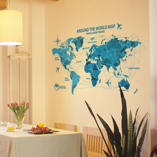 5fdba032c DIY blue origami world map airplane wall sticker poster wallpaper remo –  Runway02
