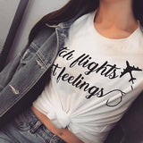 EnjoytheSpirit Catch Flights Not Feelings T Shirt Top Womens Holiday Plane Airport Good Quality Fashion Tee Casual Fit