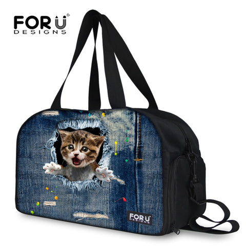 Denim Cat Women Duffel Bags Large Capacity Luggage Travel Bag for Female Ladies Big Shoulder