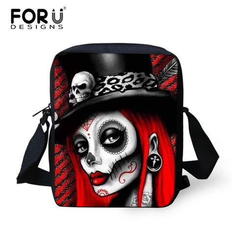 Halloween Skull Print Women Crossbody Bag Kid Carry on Shoulder Bag Men Mini Messenger Bag Casual Back with Zipper