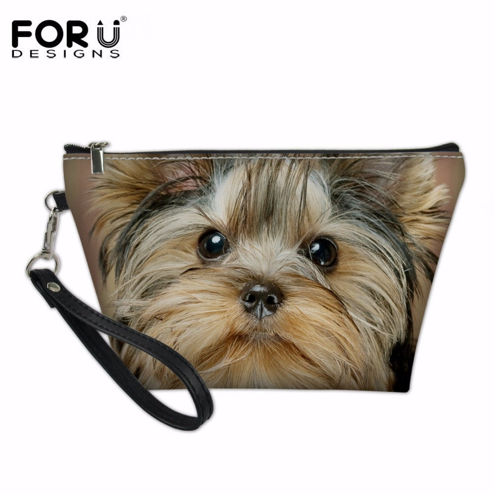 Kawaii Yorkshire Terrier Travel Cosmetic Bag Women Zipper Hand Holding Make Up Bag