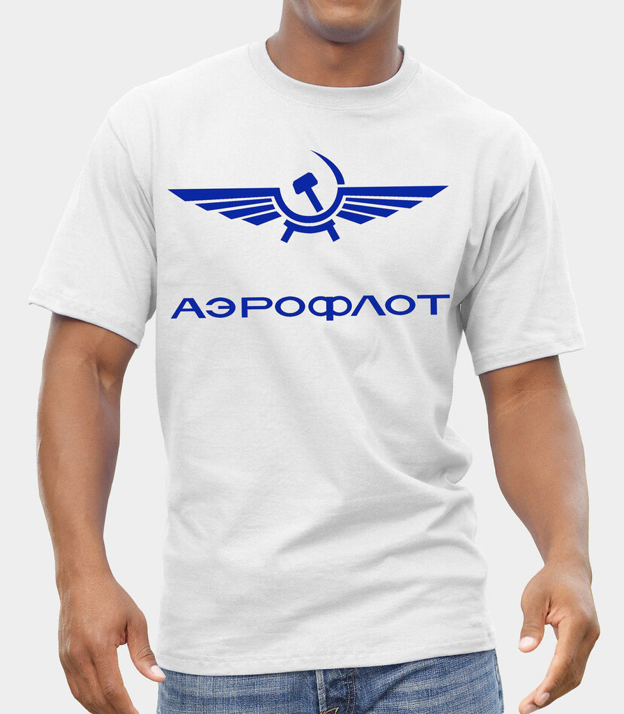 Fashion Hot sale Aeroflot Airlines Vintage Retro Russia CCCP USSR Soviet T Shirt Distressed Tee