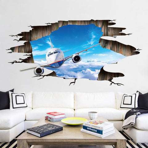 [Fundecor] the airplane in the sky wall stickers diy living room bedroom floor ceiling 3d art decals adhesive murals home decor