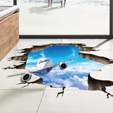 Airplane in the sky wall stickers diy living room bedroom floor ceiling 3d art decals