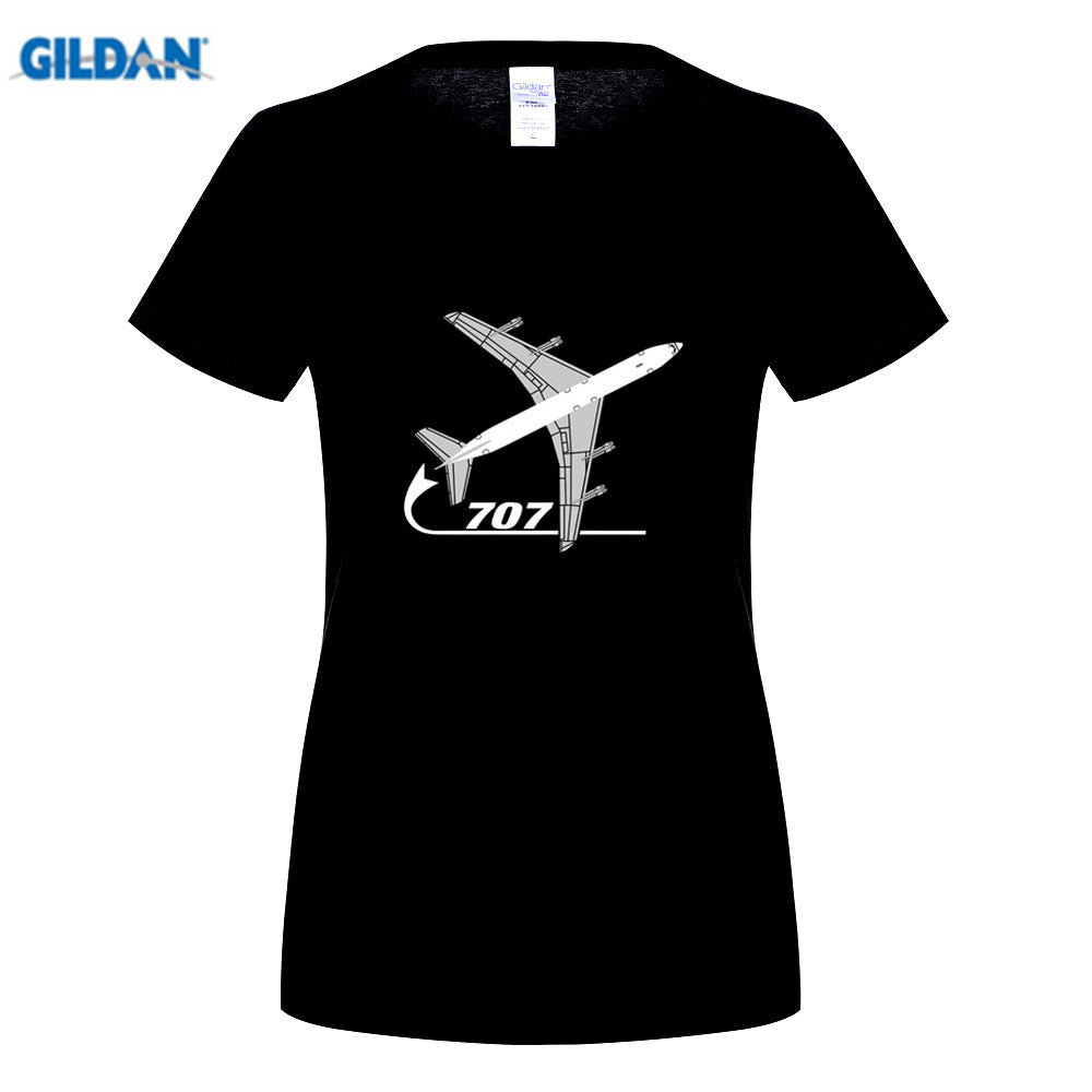 New Arrival Women's Fashion Tees Short Aeroclassic Airplane 707 Airliner Inspired Print T Shirt