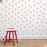 Little Aircraft Airplane Wall Sticker Baby Nursery Kids Room Cartoon Plain Wall Decal Playroom