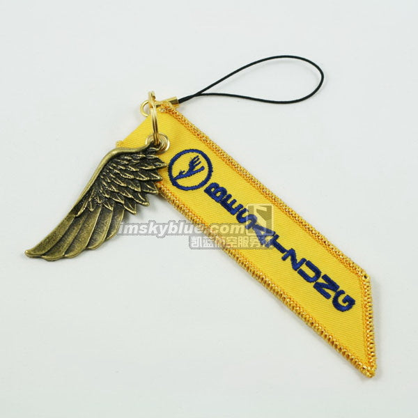 Lufthansa Airline Luggage bag Tag with Metal Wing Yellow Gift for Aviation Lover Flight Crew