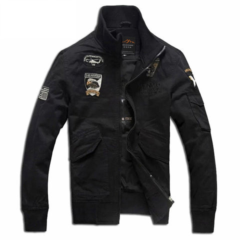 Men's Jackets Men Bomber Jacket Military Aviation Decorative Embroidery Flight Air Force One