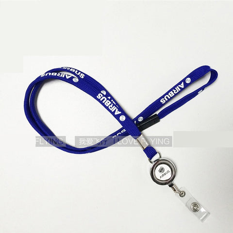 New Arrival Blue Airbus Lanyard Sling with Metal Buckle Flight Crew ID Card Holder Pilot Airman