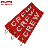 New Crew Keychain Fabric Keyring Luggage Tag Red Embroidery Key Ring Chain Aviation Gifts