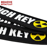 New Fashion Nuclear Launch Key Chain Tag Embroidery Key Fobs Holder Keychain Keyring