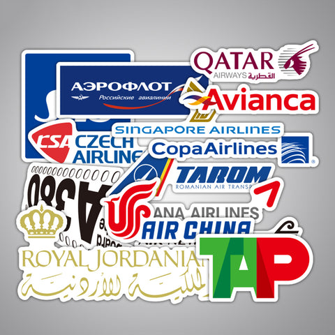 New Style 55Pcs Airline Logo High Quality Stickers Aviation Travel Trip For Suitcase Laptop Decal