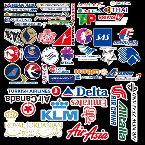 New Style 55Pcs Airline Logo High Quality Stickers Aviation Travel Trip For Suitcase Laptop Decal Fashion DIY Waterproof Sticker