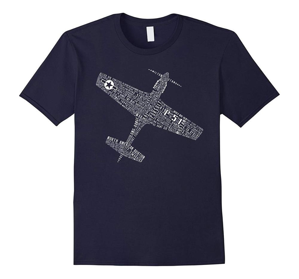 P-51 Mustang Wwii Fighter Typography Aviation Pilot Tops 2018 Short Shirt Hip Hop