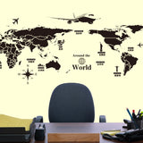Removable Large World Map Wall Sticker Airplane DIY Wall Mural Decals Decor for Living Room