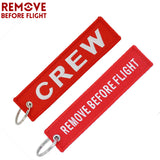 Remove Before Flight Crew Keychain Luggage Tag Safety Label Embroidery Key Chain for Keyring