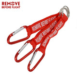 Remove Before Flight Red Motorcycle Key Ring Red Embroidery Keyrings for Aviation Tags
