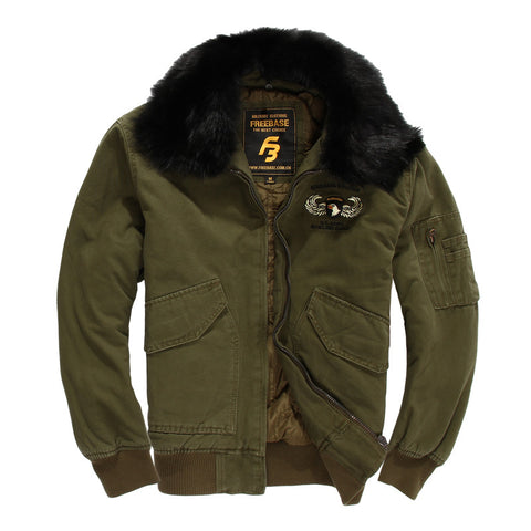 US Air Force Pilot Military Jacket For Men Winter Warm Flight Tactical Jacket Coat With Fur Collar