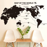 Airplane World Map Wall Sticker Vinyl Wall Poster DIY Home Decor for Living Room