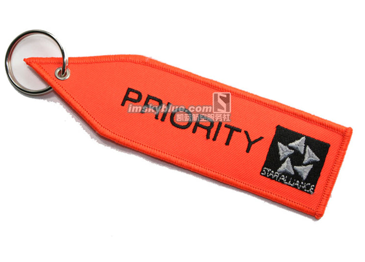 "STAR ALLIANCE with Orange Embroider ""  PRIORITY ""  Travel Luggage Bag Tag Best Gift for Flight"