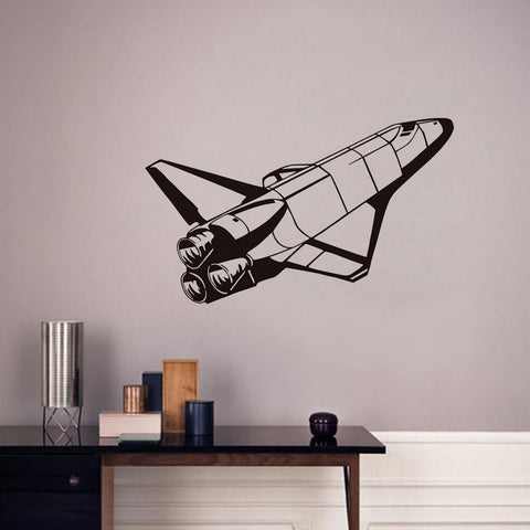 Space Shuttle Vinyl Wall Stickers For Kids Room Bedroom Decor Airplane Art Decals Self Adhesive