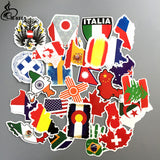 TD ZW NEW 37pcs/lot Flags aviation American Canada Russia Stickers Travel Trolley Case