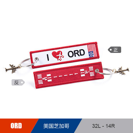 US CHICAGO ORD Airport  Luggage Tag Embroider Metal Plane  Bag Tag Best Gift for Flight Crew
