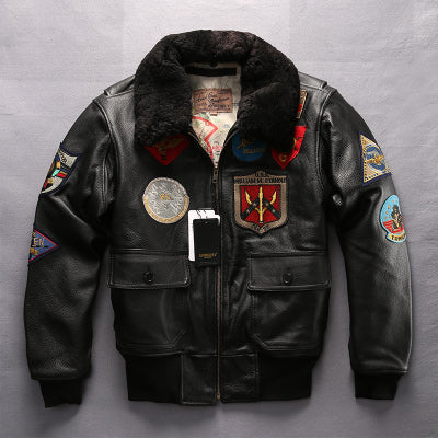 Air Force G1 pilot warm fur collar leather jacket genuine cow leather coat thick cowhide jacket