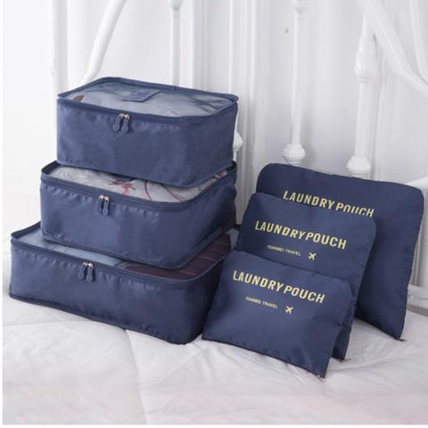 Nylon Packing Cube Travel Bag System Durable 6 Pieces Set Large Capacity Bags Unisex Clothing