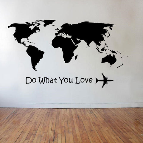 Do What You Love Airplane Wall Stickers World Map Home Decor Living Room DIY Vinyl