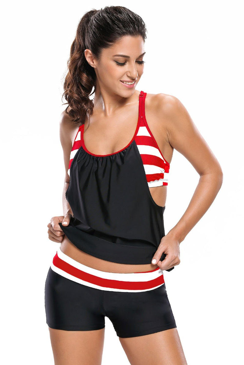 Black White Striped Flow Double Up Tankini Swimsuit - KaleaBoutique.com
