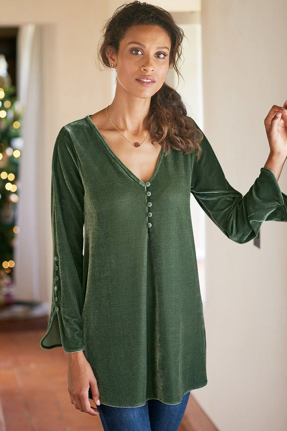 Green La Vie Velvet Top - KaleaBoutique.com