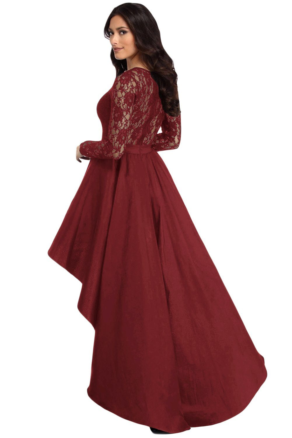 KaleaBoutique Beautiful Burgundy Long Sleeve Lace High Low Satin Prom Dress - KaleaBoutique.com