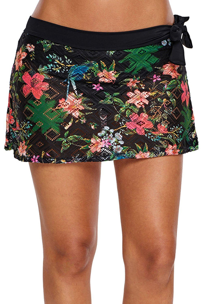 KaleaBoutique Beautiful Flexible Black Floral Print Lacy Swim Skirt - KaleaBoutique.com