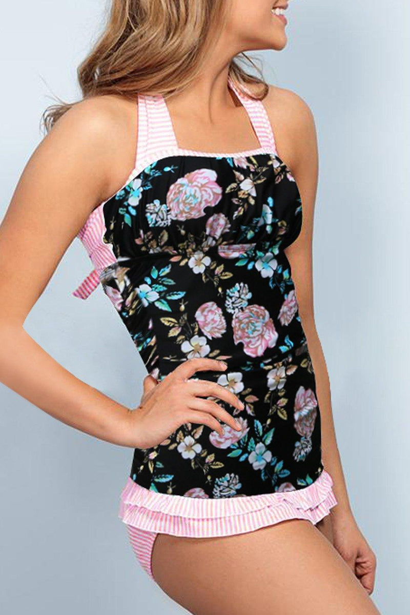 KaleaBoutique Beautiful Open Back Ruched Halter Top Shorts Tankini Set - KaleaBoutique.com