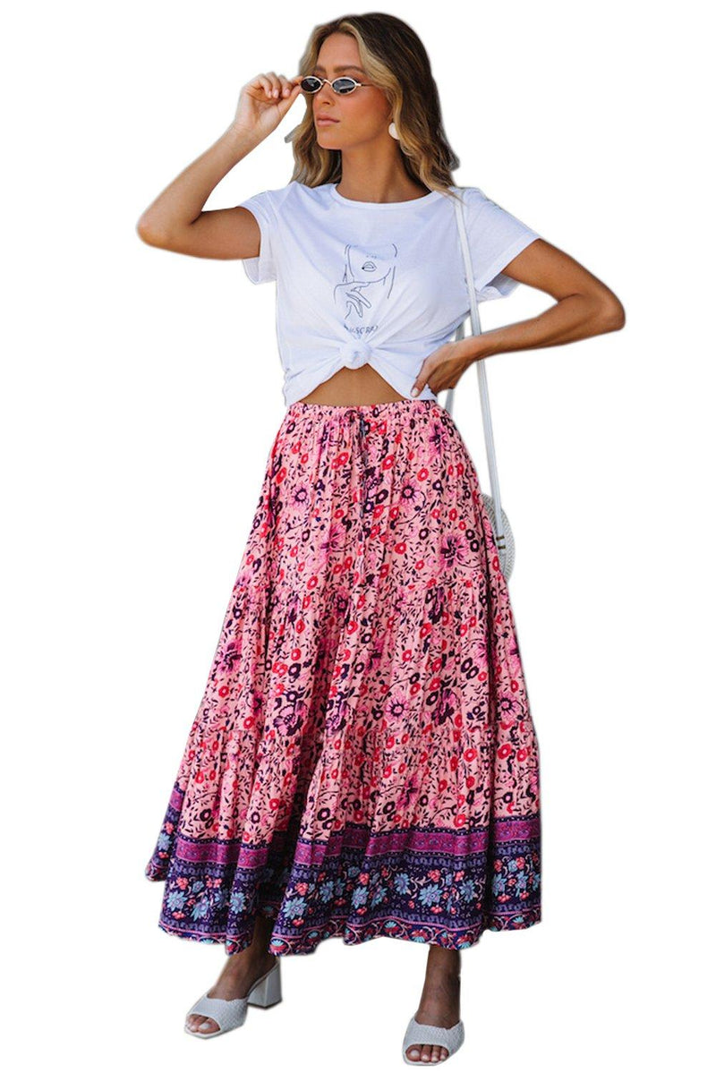 KaleaBoutique Beautiful Stylish Elastic Waist Floral Maxi Skirt - KaleaBoutique.com